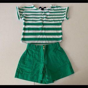 Gap size 18-24 months, green & white top w/shorts